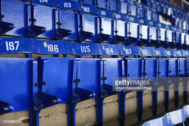 19th March 2016 - Barclays Premier League - Everton v Arsenal - The old wooden and metal seats in the Main Stand at Goodison Park - .