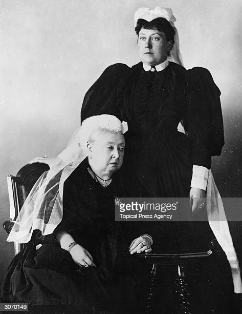 Queen Victoria with her youngest daughter Princess Beatrice Victoria Mary wife of Prince Henry of Battenberg