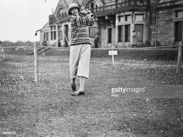 American golfer Glenna Collett in action during the Ladies' British Open Amateur Championship at Troon golf course in Ayrshire The 8th hole at Royal...