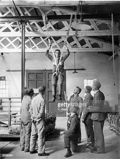 A parachute harness undergoes testing at the Henlow RAF depot in Bedfordshire in preparation for the Empire Air Day display