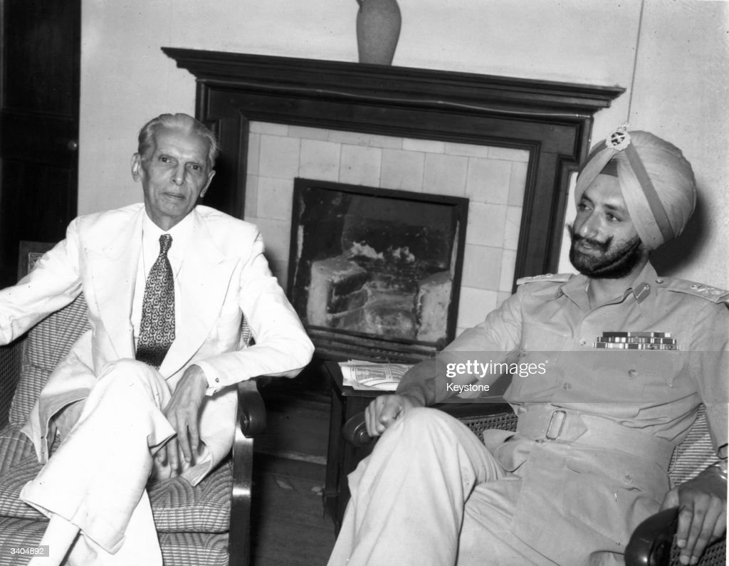 Indian leader and governorgeneral of Pakistan Muhammad Ali Jinnah with the Maharajah of Patiala during a meeting at New Delhi to discuss the division.
