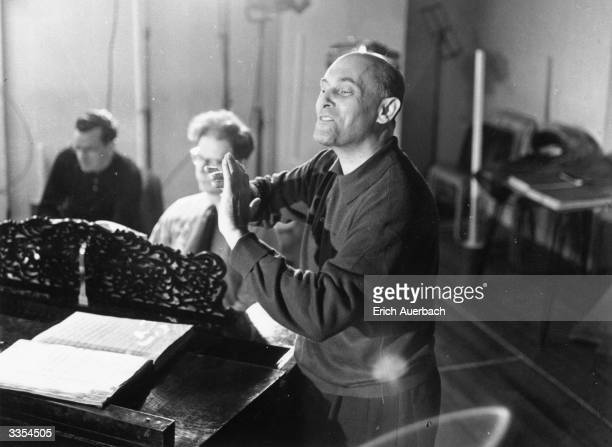 Hungarian born composer and pianist, Sir Georg Solti rehearsing at the Royal Opera House.