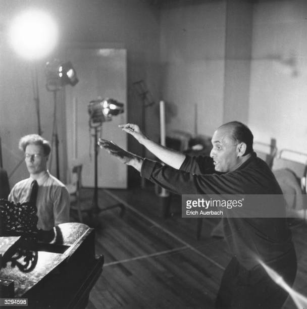 Hungarian-born British conductor Sir Georg Solti during a rehearsal of Mozart's 'The Marriage of Figaro' at the Royal Opera House, Covent Garden,...