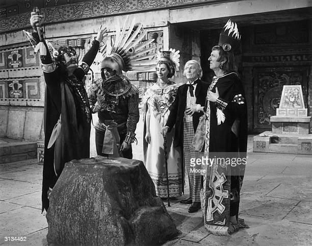 Dr Who encounters the ancient Aztecs in an episode of the famous TV series From left to right the actors are John Ringham William Russell Jacqueline...