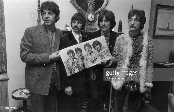 The Beatles Paul McCartney Ringo Starr George Harrison and John Lennon at a photocall for the launch of their new album 'Sergeant Pepper's Lonely...