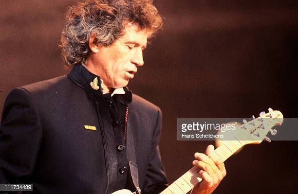 19th MAY: guitarist Keith Richards from The Rolling Stones performs live on stage at de Kuip in Rotterdam, Netherlands on 19th May 1990.