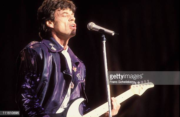 19th MAY: Mick Jagger from The Rolling Stones performs at de Kuip in Rotterdam, Netherlands on 19th May 1990.