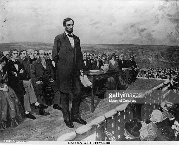 Abraham Lincoln the 16th President of the United States of America making his famous 'Gettysburg Address' speech at the dedication of the Gettysburg...