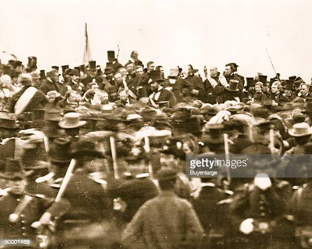 Crowd around President Lincoln at the Cemetery in Gettysburg where the Gettysburg Address was delivered