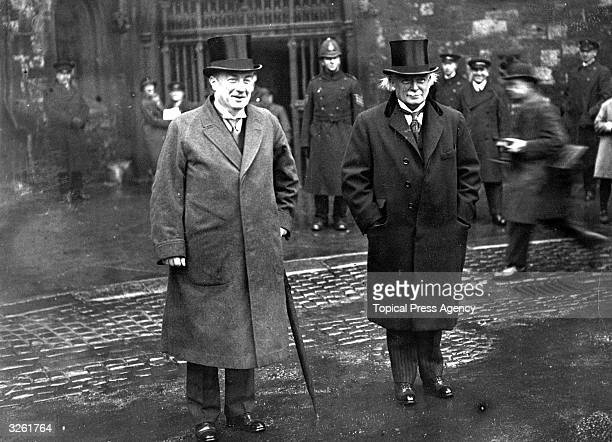 English Conservative statesman and prime minister Stanley Baldwin and Welsh Liberal statesman David Lloyd George at Westminster Abbey London to...