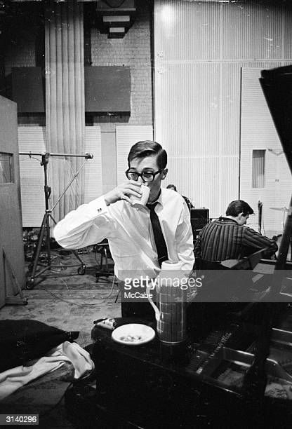 Members of Cliff Richard's backing band, The Shadows, Hank B Marvin and Bruce Welch , at the EMI recording studios.