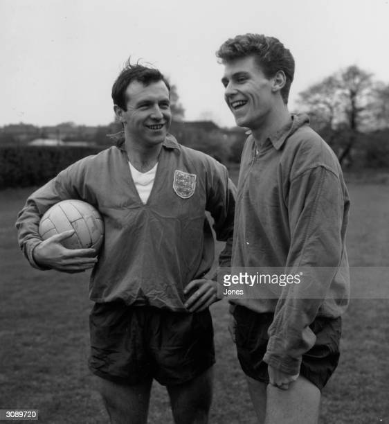 The captain of the England football team Jimmy Armfield with Bobby Thomson at Roehampton London before a match against Ireland at Wembley