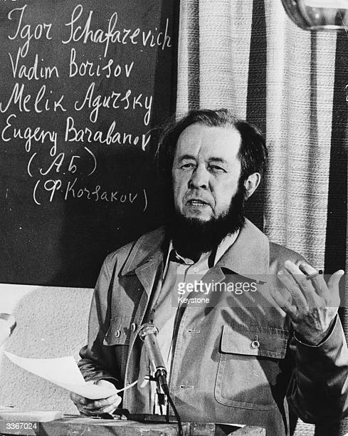 The Russian writer and Nobel Laureate Alexander Isayevich Solzhenitsyn at a press conference in Zurich