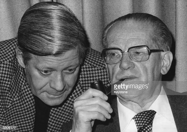 From left to right Federal Chancellor Helmut Schmidt and the parliamentary leader of the Social Democratic Party Herbert Wehner discuss matters at a...