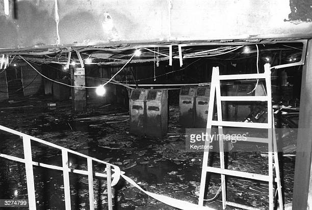 The remains of the booking hall after the fire at King's Cross Underground Station London in which 31 people were killed