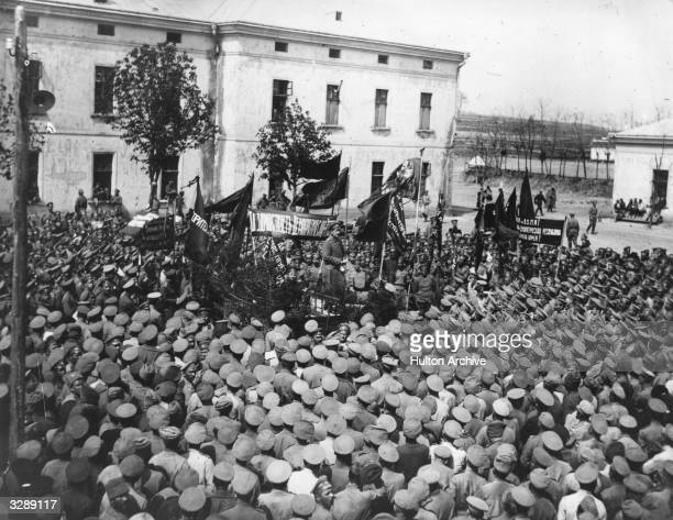 The famous revolutionist Boris Cregevitch addresses the Russian army during the Revolution
