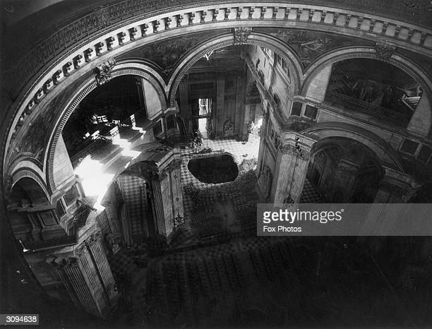 A hole in the floor of St Paul's Cathedral London after the cathedral was hit in a German bombing raid
