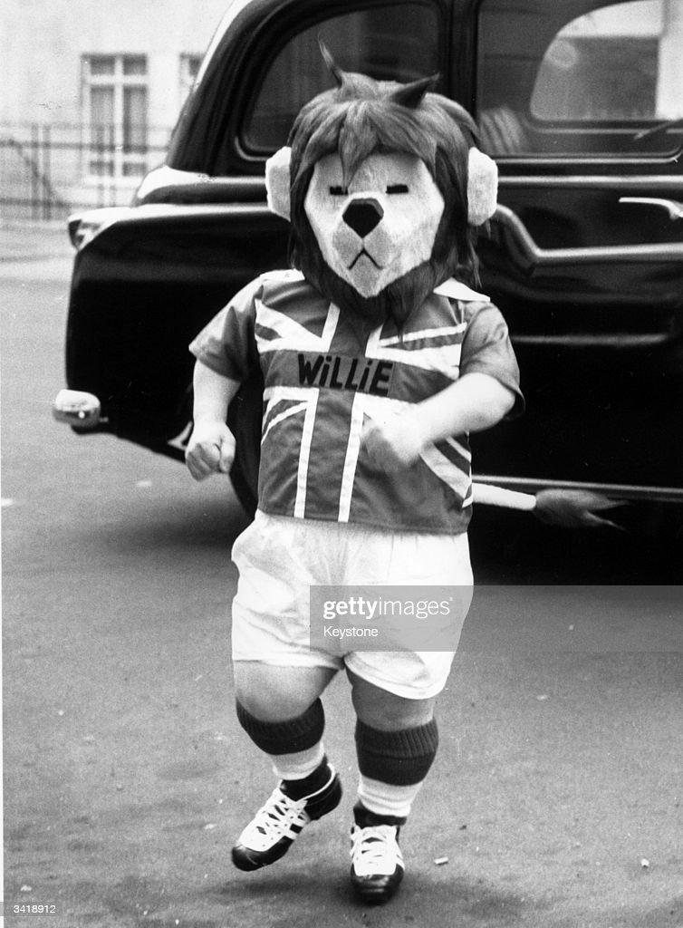 The British football team mascot World Cup Willie, played by George Claydon, arriving at the Football Association headquarters in London.