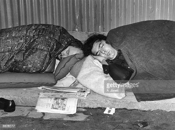Irish politicians Paddy O'Hanlon and John Hume asleep in their sleeping bags during their 48hour hunger strike at Downing Street London