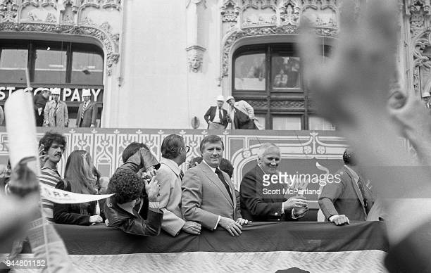New York George Steinbrenner and other New York Yankees team members ride down Broadway during a ticker tape parade The parade is celebrating the...