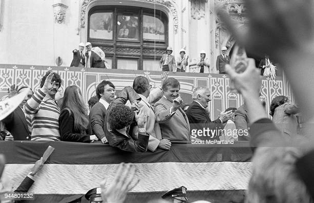New York George Steinbrenner and other New York Yankees team members ride down Broadway's Canyon Of Heroes during a ticker tape parade The parade is...