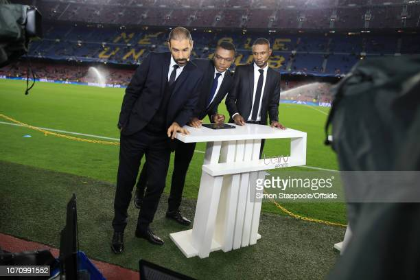 19th October 2016 UEFA Champions League Group C FC Barcelona v Manchester City Former players Robert Pires Marcel Desailly and Eric Abidal work as...