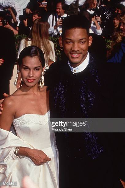 American actor and rapper Will Smith, then star of the TV sitcom, 'The Fresh Prince of Bel Air,' with his first wife Sheree Zampino at the Emmy...