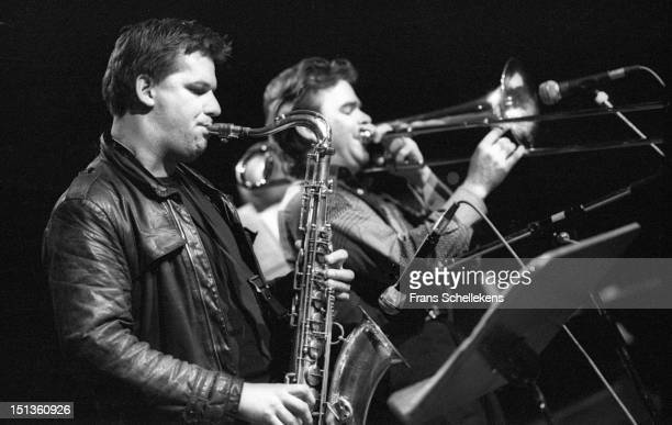 19th SEPTEMBER: saxophone player Peter van Bergen and trombone player Wolter Wierbos perform live on stage at the BIM Huis in Amsterdam, Netherlands...