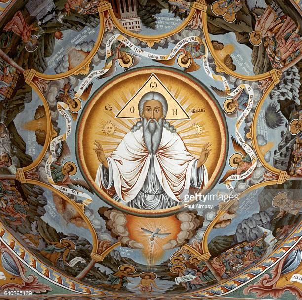 19thCentury Bulgarian Fresco of God the Father