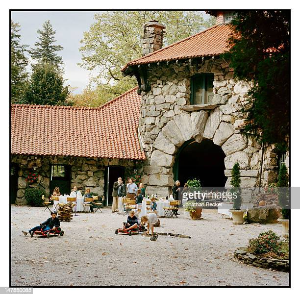 19th-century financial titan George Fisher Baker's former carriage house is photographed for Town & Country Magazine on September 8, 2011 in Tuxedo...