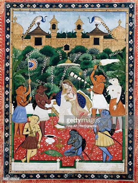19thCentury Indian Painting of the Wife of Rajah Ramchanderjee In Rawan's Garden
