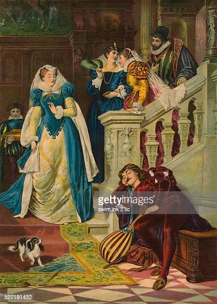 19thCentury Print of Elizabethan Woman Discovering Sleeping Musician