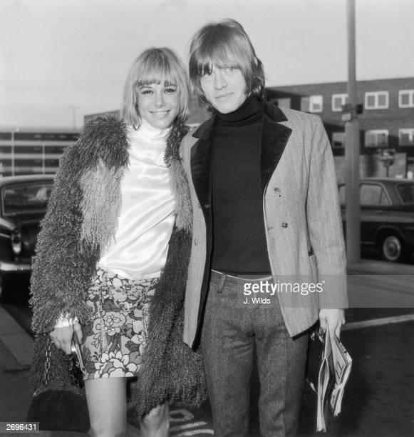 19yearold actress Anita Pallenberg with Brian Jones guitarist and founder member of the Rolling Stones pop band She has just flown in from Munich to...