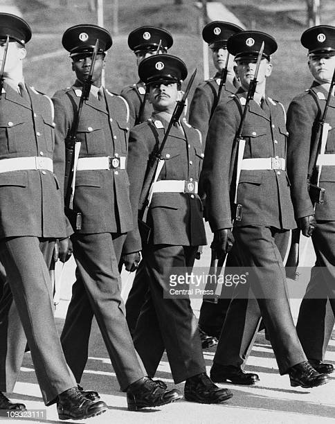 Year-old Hamad bin Isa Al Khalifa takes part in the Commissioning Parade at the Mons Officer Cadet School in Aldershot, 16th February 1968. The heir...