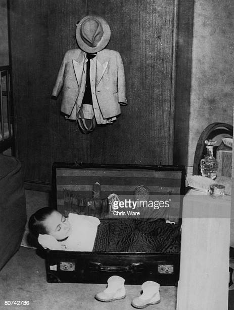 19yearold midget Freddy Hackl a member of the Bertram Mills Circus troupe curls up in a suitcase during a trip to London 11th January 1950