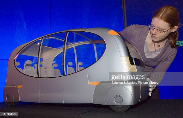1metrelong model of a futuristic vehicle which aims to become a cheap and personalised mode of public transport as an alternative to cars and current...