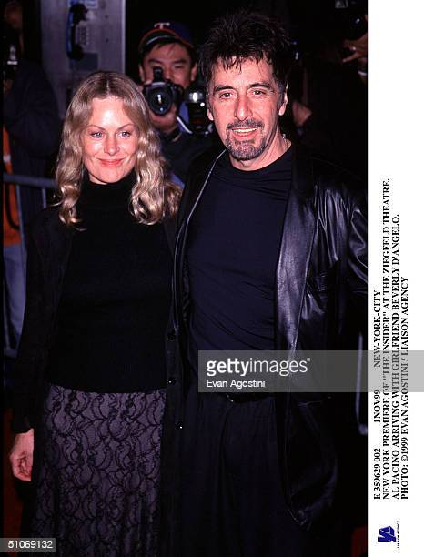E 359629 002 1Nov99 NewYorkCity New York Premiere Of The Insider At The Ziegfeld Theatre Al Pacino Arriving With Girlfriend Beverly D'Angelo