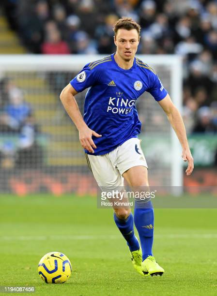 1of Leicester in action during the Premier League match between Leicester City and Norwich City at The King Power Stadium on December 14, 2019 in...