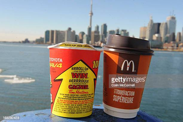 MAR 1st 2010pics of to go with coffee wars between mcdonalds and tim hortons mc donalds is giving away free coffee for two weeks after the olympics...