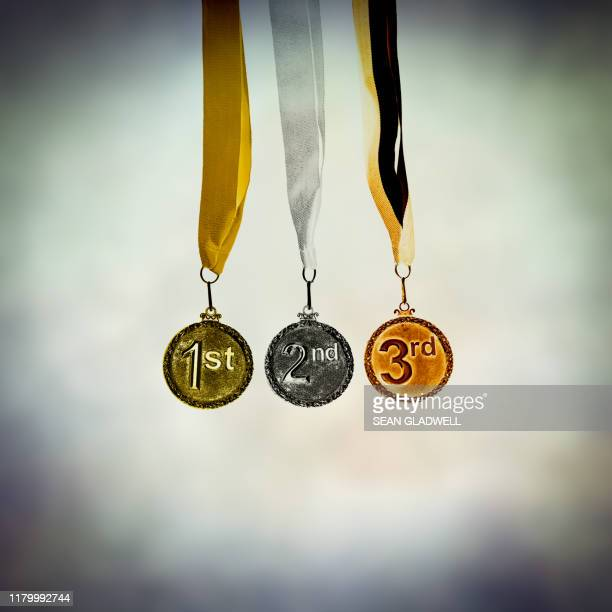 1st 2nd 3rd medals on ribbons - third place stock pictures, royalty-free photos & images