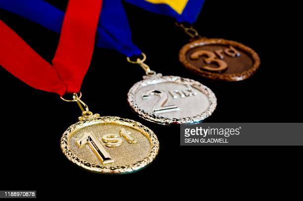 1st 2nd and 3rd medals - third place stock pictures, royalty-free photos & images