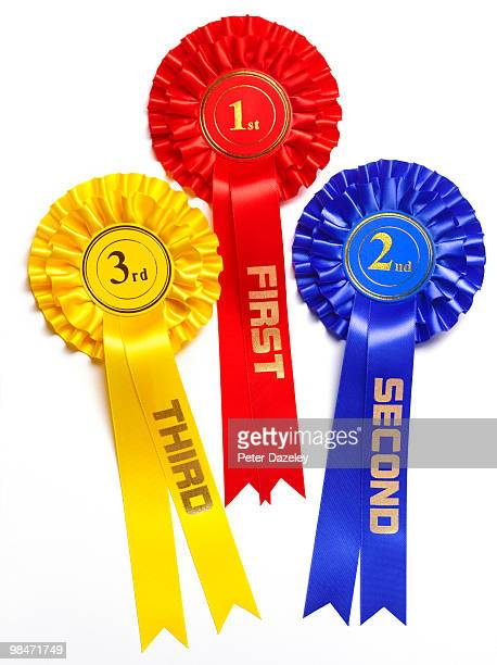 1st 2nd and 3rd winner rosette - third place stock pictures, royalty-free photos & images