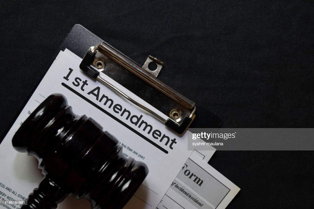 1st Amandment text on Document and gavel isolated on office desk. Law concept : Stock Photo