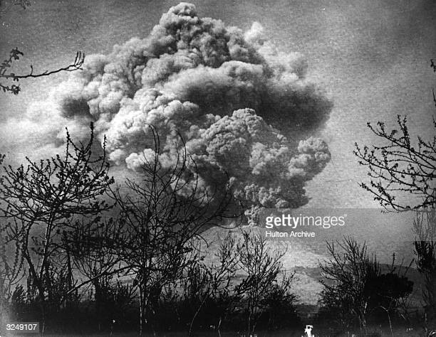 A cloud of smoke over Mount Vesuvius Italy