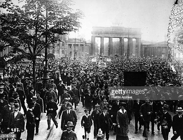 A crowd demonstrates against the Peace agreement the result of World War I