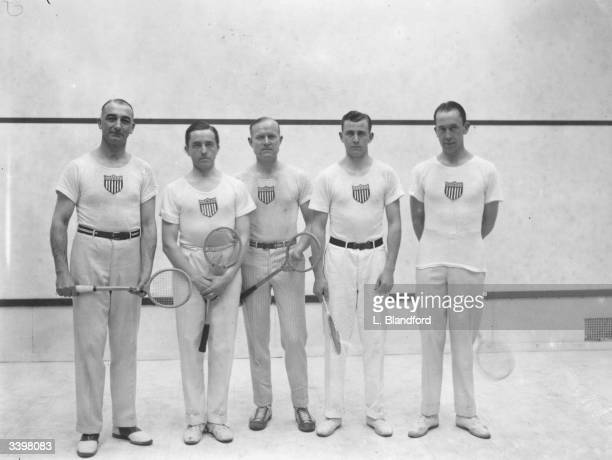 The American Squash team at the Bath Club in London A E Ells J Keefe H E Mills E M Hinkle and C S Clark