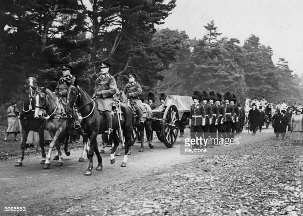 The funeral cortege of Queen Alexandra widow of Edward VII at Sandringham 1925