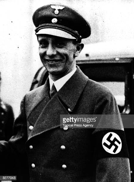 German propaganda minister Joseph Goebbels at a Berlin aerodrome, prior to his departure for Vienna.