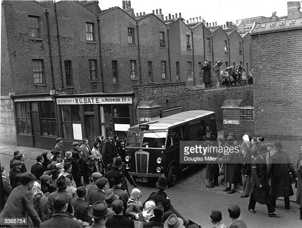 John Christie leaving court in a police van after the trial accusing him of his wife's murder at 10 Rillington Place He was later convicted of six...