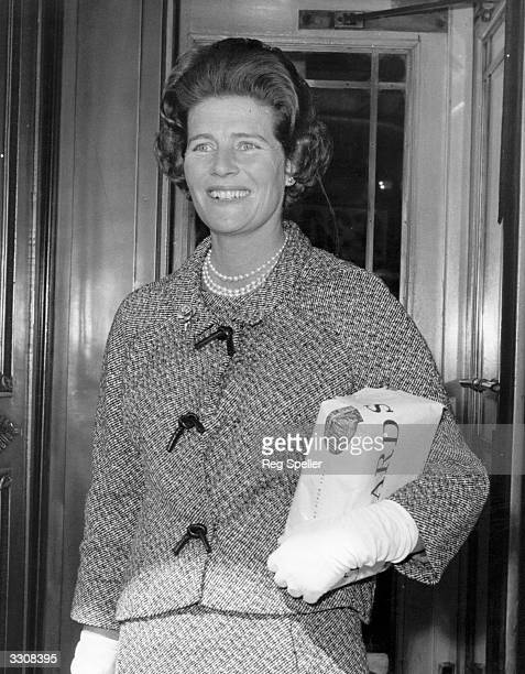 Mary Churchill arrives at the Cafe Royal London for an 80th birthday luncheon for Lady Churchill